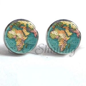 Jewelry - NEW Silver World Map Travel Stud Earrings
